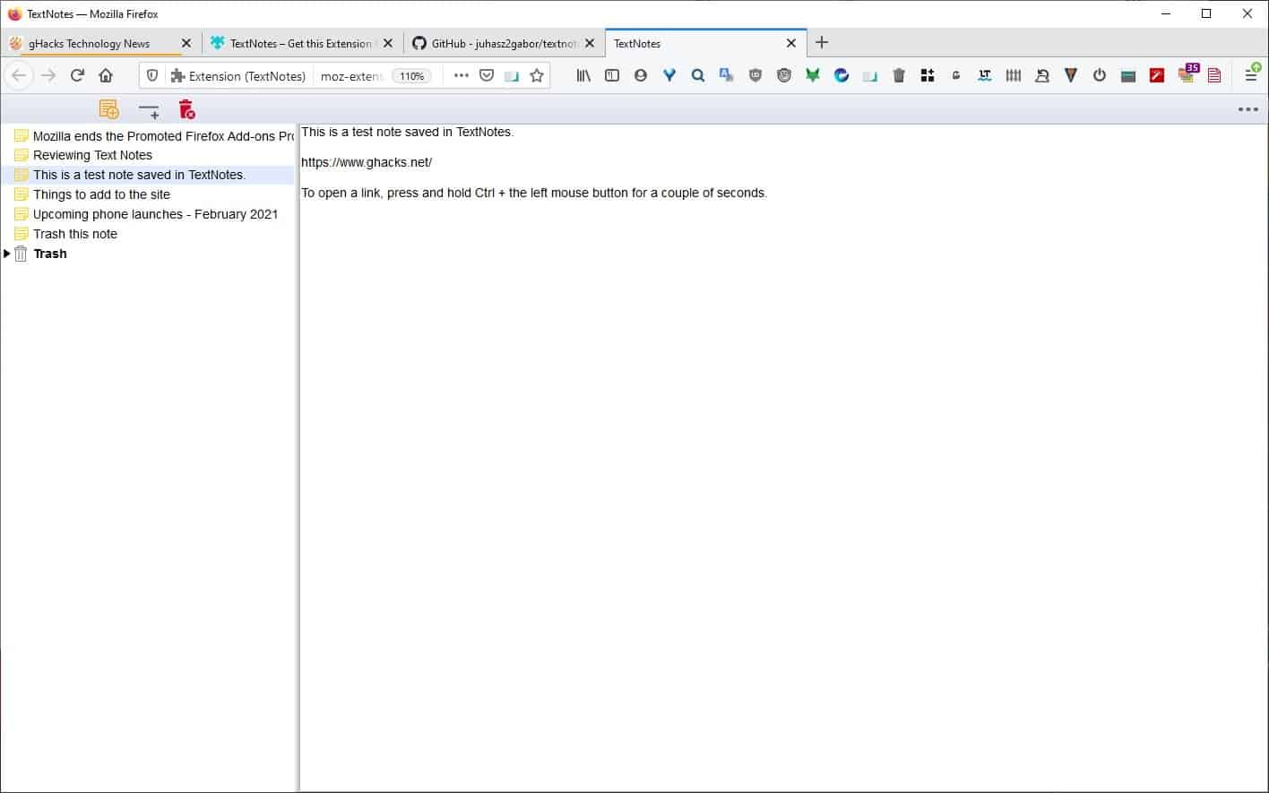 Write notes in a new tab and save them locally with the TextNotes extension for Firefox