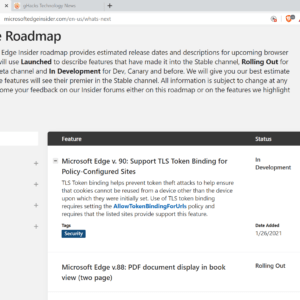 microsoft edge feature roadmap