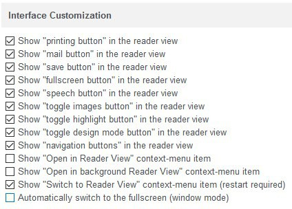 Reader View firefox extension options