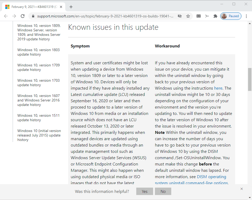 windows updates support pages