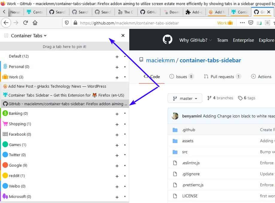 Manage container tabs efficiently from a side panel with the Container Tabs Sidebar extension for Firefox