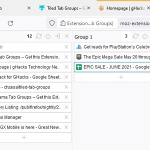 Create tab groups, stash and unload tabs in Firefox with Tiled Tab Groups