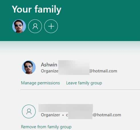 Manage your Microsoft family account