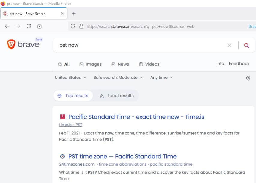 Brave Search time zones