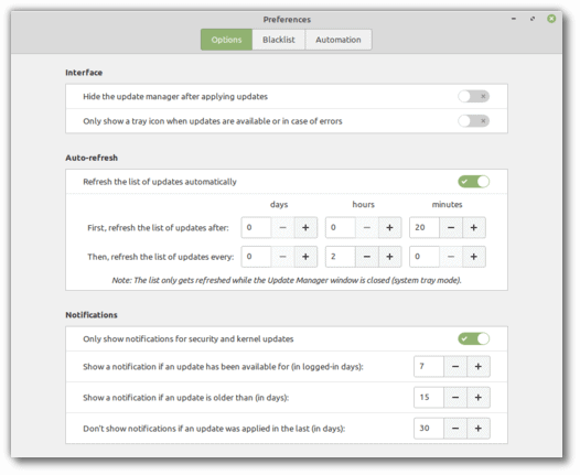 linux mint update notifications preferences